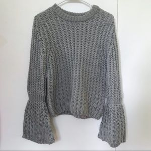 Gray Knit Sparkly Bell-Sleeve Sweater